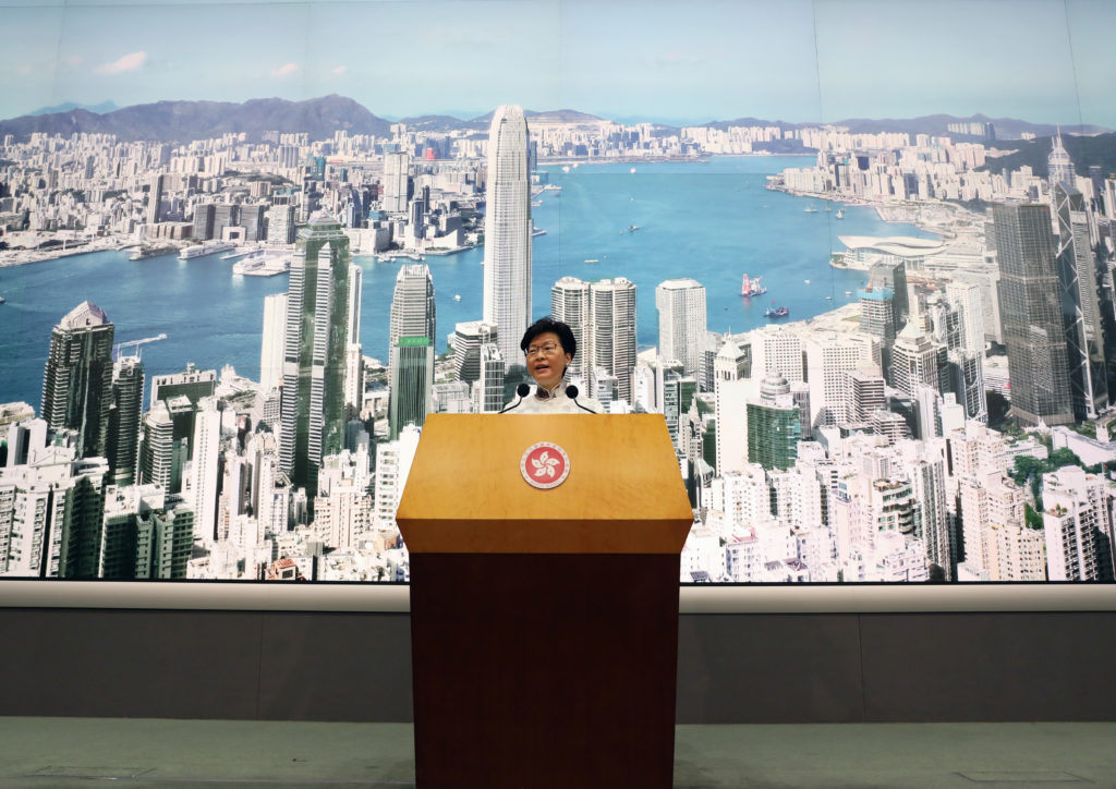 Hong Kong Chief Executive Carrie Lam speaks at a news conference in Hong Kong, China, June 15, 2019. Photo by Athit Perawongmetha/Reuters