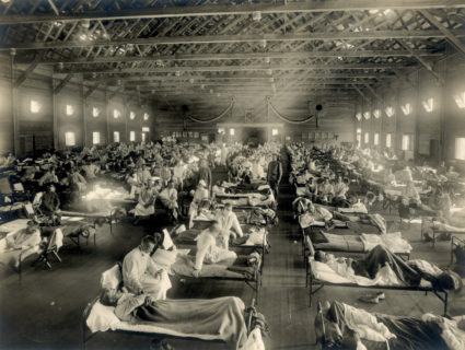 Soldiers with Spanish influenza at a hospital ward, Fort Riley, Kansas at Camp Funston. Photo by National Museum of Health and Medicine