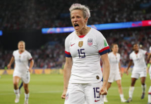 United States forward Megan Rapinoe (15) celebrates after scoring a goal against France in the second half of a quarterfinal match in the FIFA Women's World Cup France 2019 at Parc des Princes. Mandatory Credit: Michael Chow-USA TODAY Sports