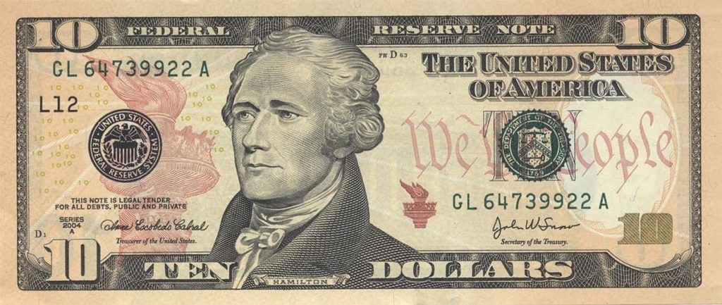 Hamilton, who adorns the $10 bill, believed the government should intervene in markets.  Photo courtesy: U.S. Government, CC BY