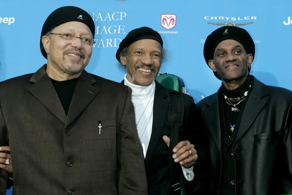 Three of the Neville Brothers music group Art (far left), Charles and Cyril Neville pose as they arrive at the taping of the 37th annual NAACP Image Awards in Los Angeles, California February 25, 2006. Photo via Reuters