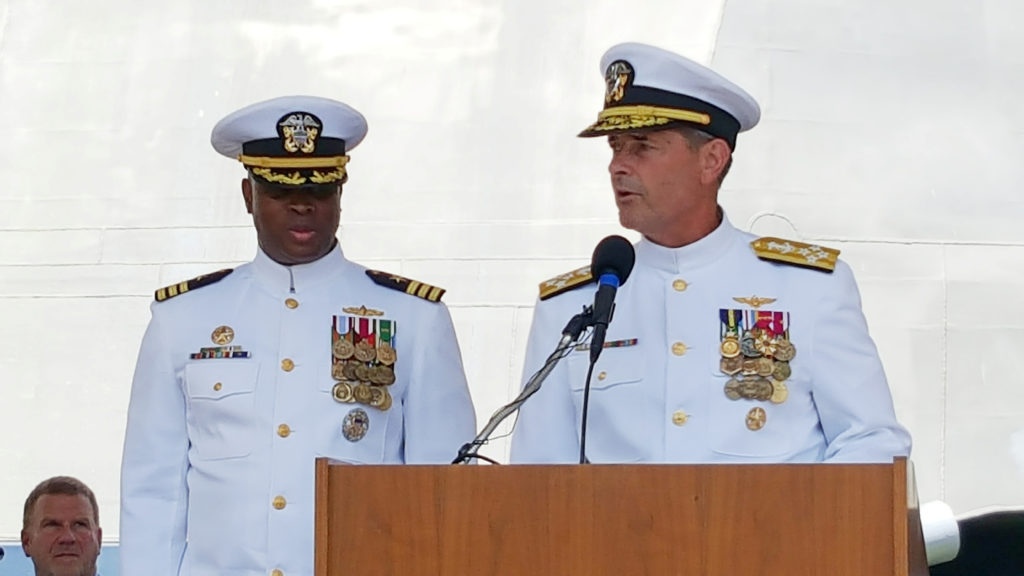 Adm. William Moran, Vice Chief of Naval Operations, turns over command of USS Gabrielle Giffords to Cmdr. Keith Woodley du...
