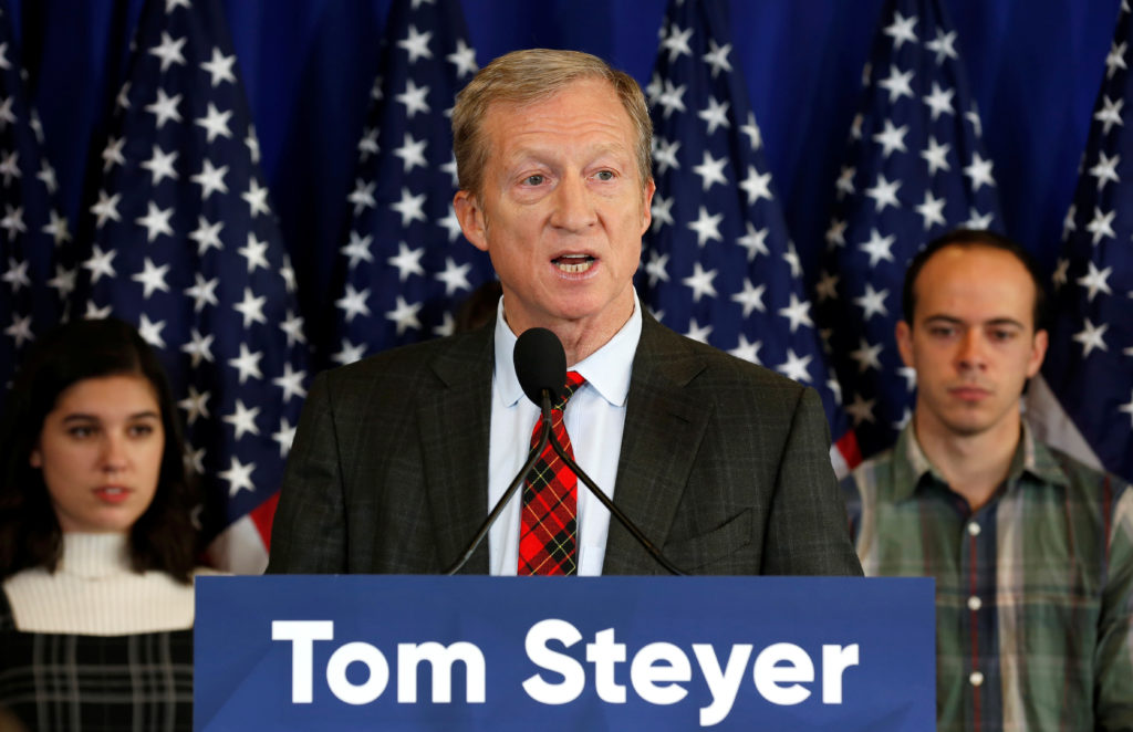 Tom Steyer, a hedge fund manager and a prominent Democratic fundraiser who has mounted a high-profile advertising campaign advocating the impeachment of U.S. President Donald Trump, holds a news conference in Washington, on January 8, 2018. Photo by Joshua Roberts/Reuters