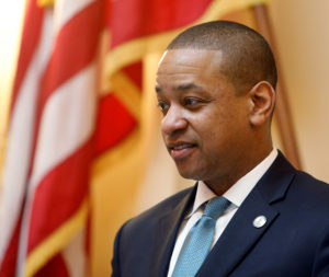 Virginia Lieutenant Governor Justin Fairfax presides over the senate before the start of a session in Richmond, Virginia, on February 11, 2019. Photo by Jonathan Drake/Reuters