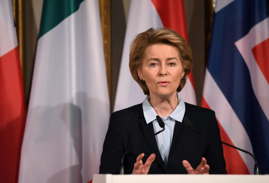 German Defence Minister Ursula von der Leyen speaks at the annual Munich Security Conference in Munich, Germany on February 15, 2019. Von der Leyen has been nominated to become the next head of the European Commission. Photo by Andreas Gebert/Reuters