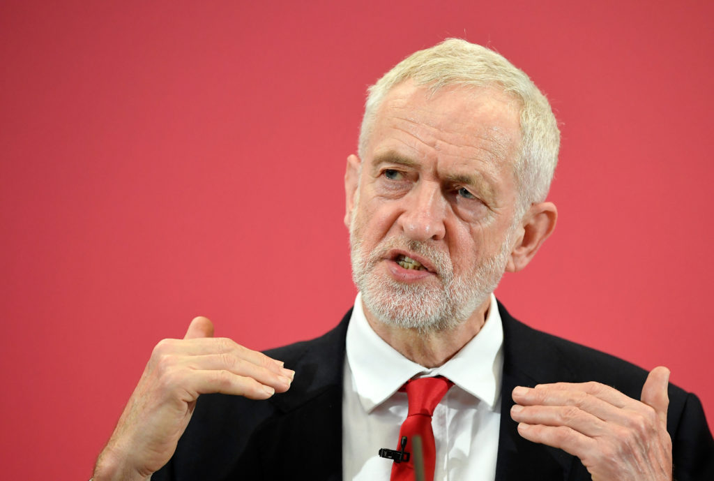 Britain's opposition Labour Party leader Jeremy Corbyn speaks at the launch of Labour's European election campaign in Kent, Britain, May 9, 2019. Photo by Toby Melville/Reuters