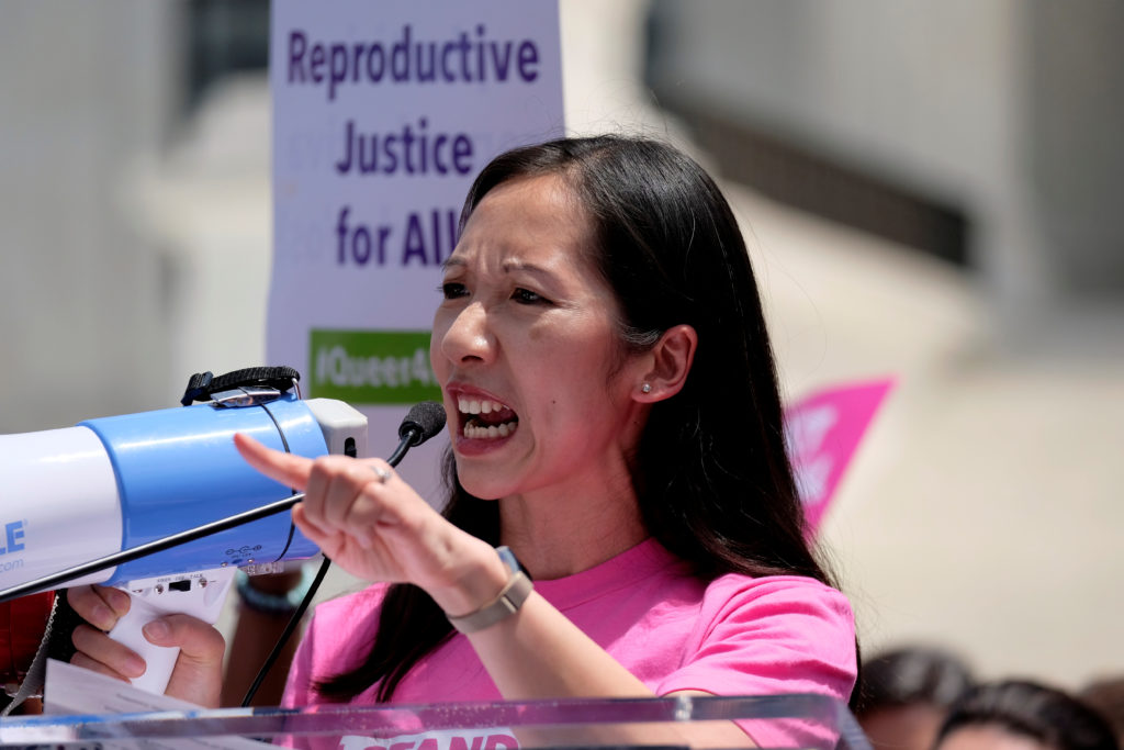 Planned Parenthood president Dr. Leana Wen speaks at a protest agai…