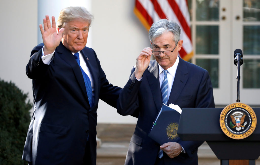 President Donald Trump gestures with Jerome Powell, his nominee to become chairman of the U.S. Federal Reserve at the White House in Washington, on November 2, 2017. Photo by Carlos Barria/Reuters