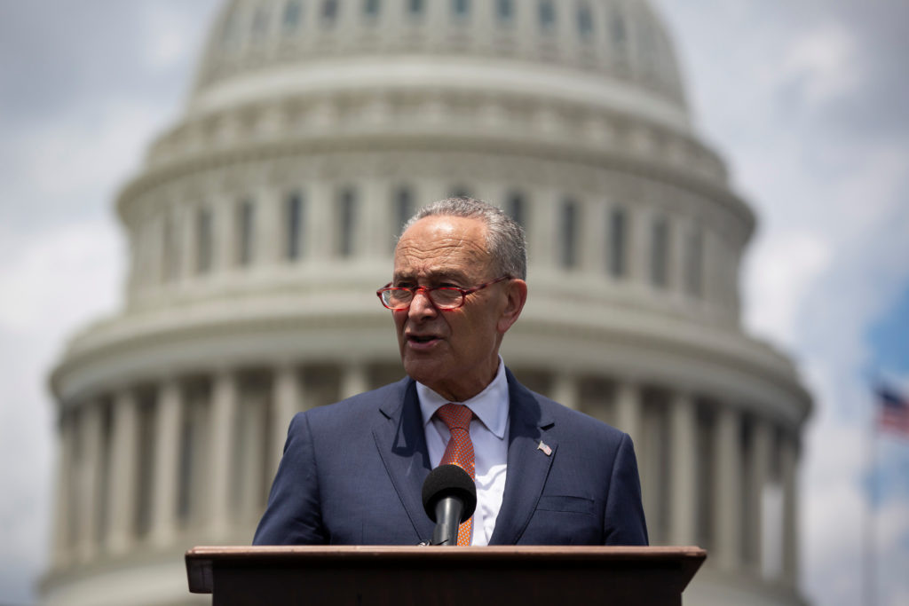 Senate Minority Leader Chuck Schumer speaks during a news conference to schedule a Senate vote on the Background Checks Expansion Act, on the East Front of the U.S. Capitol in Washington, U.S. June 20, 2019. File photo by Al Drago/Reuters