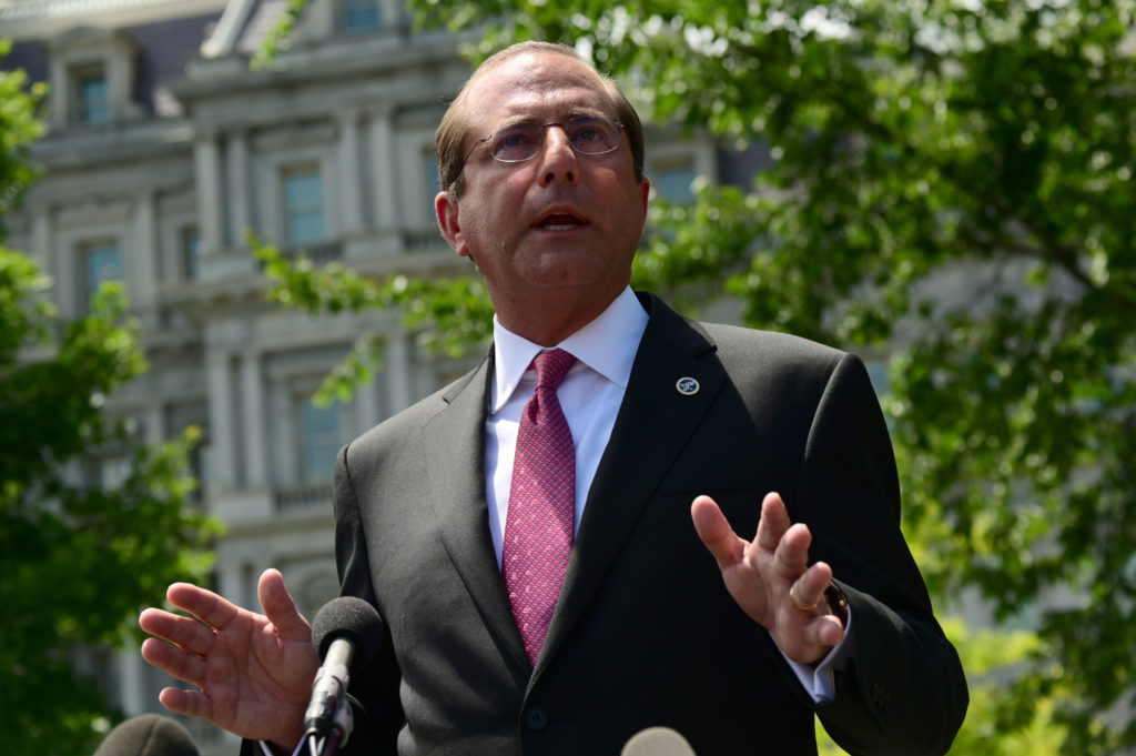 U.S. Secretary of Health and Human Services Alex Azar speaks with members of the press at the White House in Washington, June 24, 2019. Photo by Erin Scott/Reuters