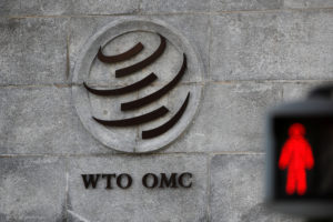 A logo is pictured outside the World Trade Organization (WTO) headq…