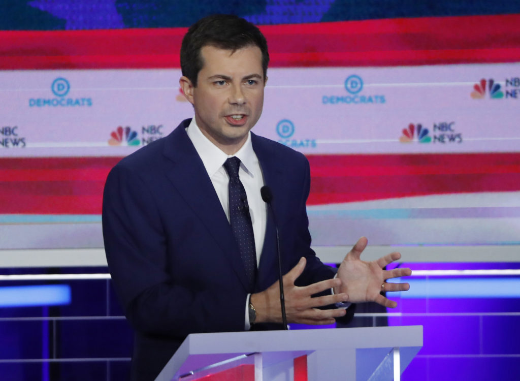South Bend Mayor Pete Buttigieg speaks during the second night of the first Democratic presidential candidates debate in M...