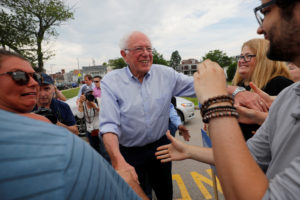 Democratic 2020 U.S. presidential candidate and U.S. Senator Bernie Sanders (I-VT) greets supporters before marching in the Nashua Pride Parade in Nashua, New Hampshire, on June 29, 2019. Photo by Brian Snyder/Reuters