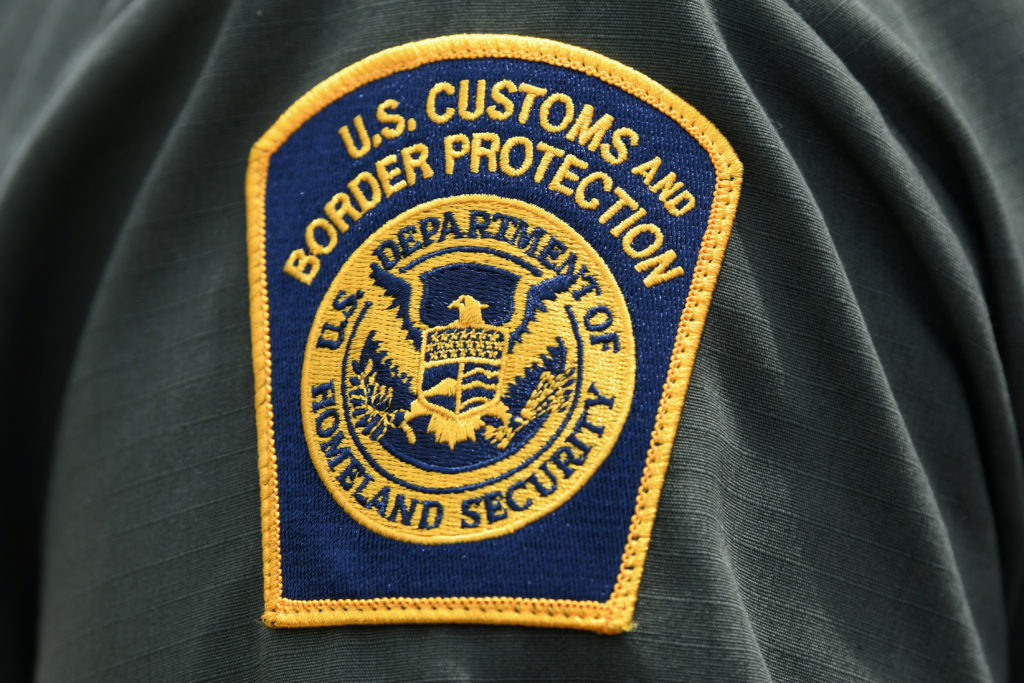 A U.S. Customs and Border Protection patch is seen on the arm of a U.S. Border Patrol agent in Mission, Texas, on July 1, 2019. Photo by Loren Elliott/Reuters