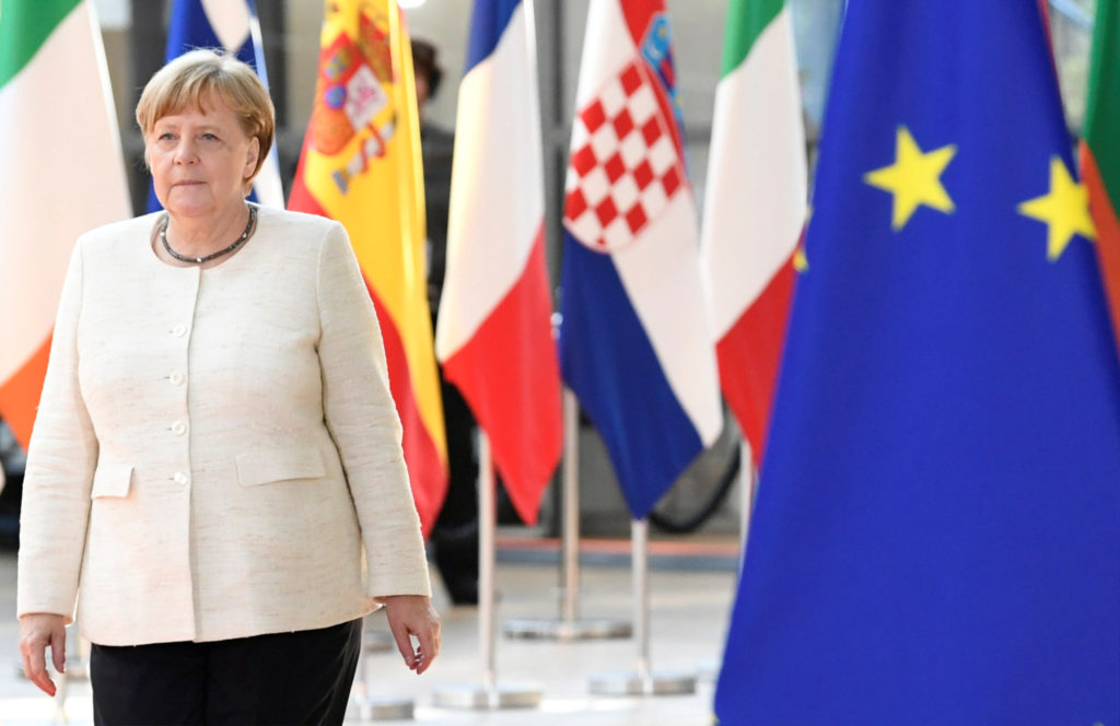 Germany's Chancellor Angela Merkel arrives to take part in a European Union leaders summit, in Brussels, Belgium on July 2...
