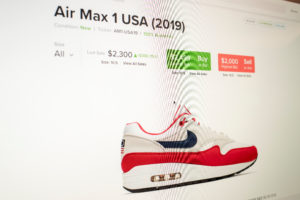 The price of a pair of Air Max 1 sneakers from Nike with the Betsy Ross flag on it are for sale on the website Stockx.com as seen on a computer screen in New York. Photo by Lucas Jackson/Reuters