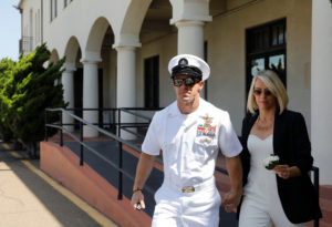 U.S. Navy SEAL Special Operations Chief Edward Gallagher leaves for a lunch break with wife Andrea Gallagher from his court-martial trial at Naval Base San Diego in San Diego, California on July 2, 2019. Photo by John Gastaldo/Reuters