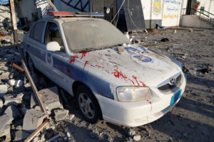 Blood stains are seen on a police car at a detention centre for mainly African migrants, hit by an airstrike in the Tajoura suburb of Tripoli, Libya July 3, 2019. Photo by: Ismail Zitouny/Reuters