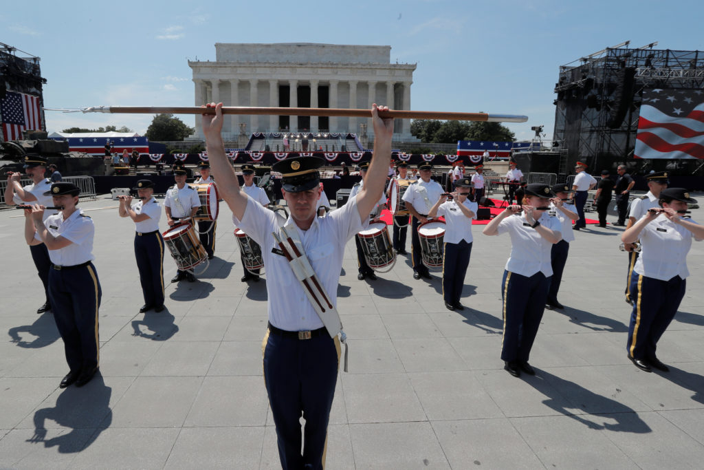 Members of a U.S. military band rehearse as preparations continue for U.S. President Donald Trump's Fourth of July speech at the Lincoln Memorial in Washington, on July 3, 2019. Photo by Jim Bourg/Reuters