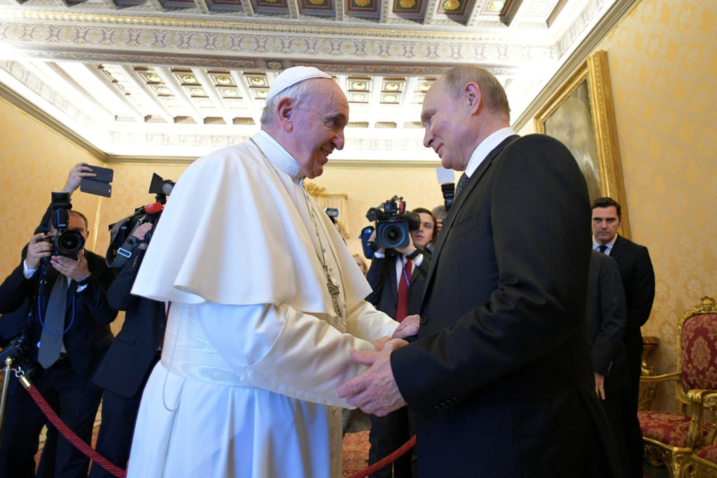 Russian President Vladimir Putin meets with Pope Francis at the Vatican on July 4, 2019. Photo courtesy Vatican Media/­Handout via Reuters