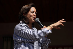 U.S. Democratic presidential candidate and U.S. Senator Kamala Harris (D-CA) speaks during a Fourth of July House Party in Indianola, Iowa, July 4, 2019. Photo by Scott Morgan/Reuters