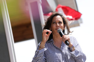 Democratic presidential candidate and U.S. Senator Kamala Harris (D-CA) speaks during a Fourth of July House Party in Indianola, Iowa, July 4, 2019. Photo by Scott Morgan/Reuters