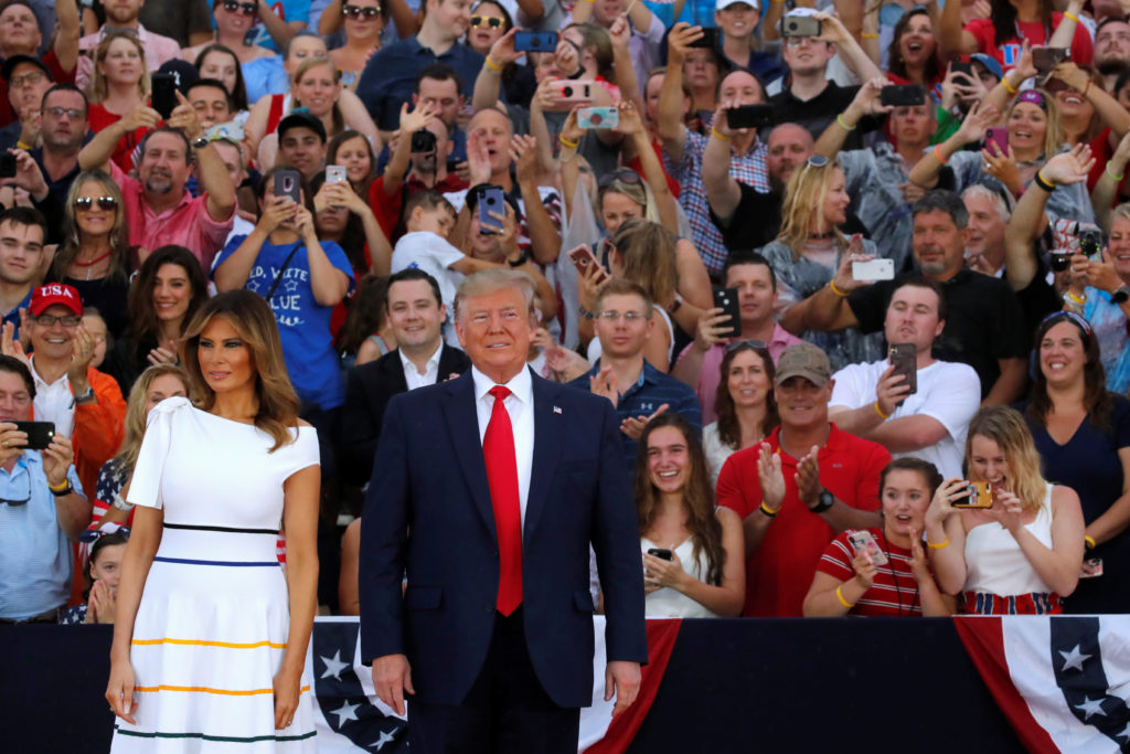 "U.S. President Donald Trump and first lady Melania Trump arrive for the ""Salute to America"" event during Fourth of July Independence Day celebrations at the Lincoln Memorial in Washington, D.C., U.S., July 4, 2019. Photo by REUTERS/Carlos Barria"