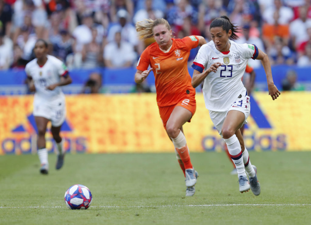 United States forward Christen Press (23) chases the ball with Netherlands defender Desiree van Lunteren (2) during the second half in the championship match of the FIFA Women's World Cup France 2019 at Stade de Lyon. Current and former U.S. soccer players are suing the U.S. Soccer Federation for equal pay. Photo by Michael Chow-USA TODAY Sports