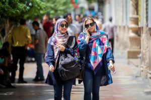 Iranian women walk at Ferdowsi street in Tehran, Iran July 6, 2019. Photo by Nazanin Tabatabaee/West Asia News Agency via