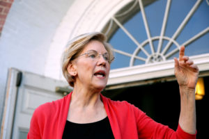 Democratic 2020 U.S. presidential candidate Sen. Elizabeth Warren speaks to an outside overflow crowd during a town hall at the Peterborough Town House in Peterborough, New Hampshire, July 8, 2019. Photo by Elizabeth Frantz/Reuters