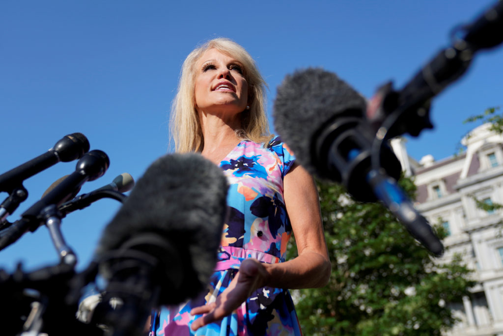 White House adviser Kellyanne Conway speaks to reporters at the White House in Washington, on July 9, 2019. Photo by Kevin Lamarque/Reuters