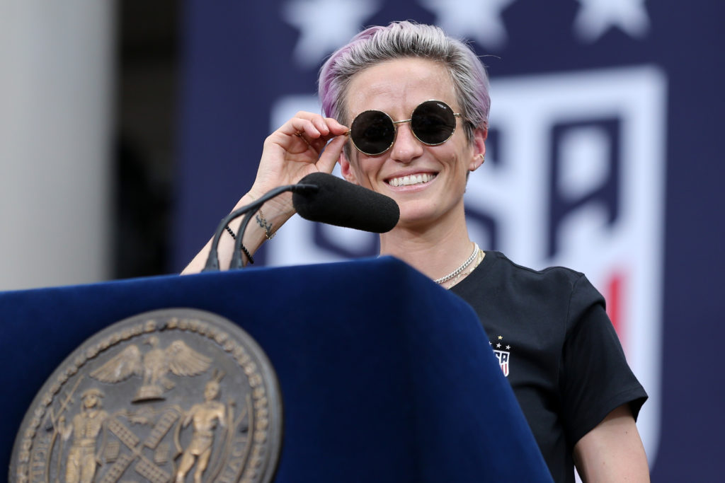 United States women's national team forward Megan Rapinoe speaks at New York City Hall after the ticker-tape parade for the United States women's national soccer team down the canyon of heroes in New York City. Photo by Brad Penner-USA TODAY Sports