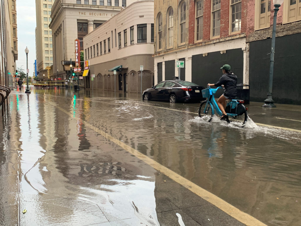 A flooded area is seen in New Orleans, Louisiana, on July 10, 2019 in this image obtained from social media. Photo by Bren...