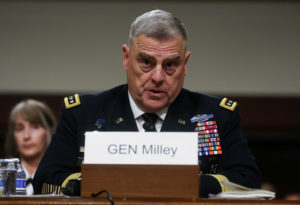 U.S. Army Gen. Mark Milley testifies before a Senate Armed Services Committee hearing on his nomination to be chairman of the Joint Chiefs of Staff on Capitol Hill in Washington, U.S., July 11, 2019. Photo by REUTERS/Leah Millis