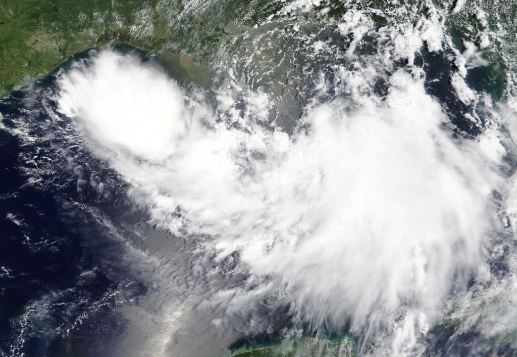 Tropical Storm Barry is shown in the Gulf of Mexico approaching the…