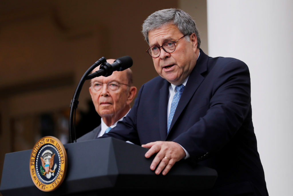 U.S. Attorney General Bill Barr describes the Trump administration's effort to gain citizenship data during the 2020 census as Commerce Secretary Wilbur Ross stands at his side during an event with the president in the Rose Garden of the White House in Washington, on July 11, 2019. Photo by Carlos Barria/Reuters