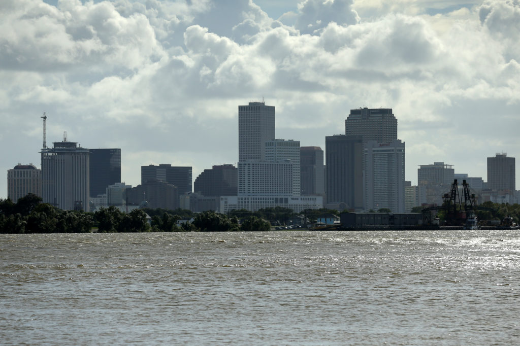 A view of downtown New Orleans pictured with the Mississippi River as Tropical Storm Barry approaches land in New Orleans, Louisiana, on July 11, 2019. Photo by Jonathan Bachman/Reuters