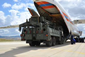 First parts of a Russian S-400 missile defense system are unloaded from a Russian plane at Murted Airport, known as Akinci Air Base, near Ankara, Turkey, July 12, 2019. Photo courtesy of Turkish Military/Turkish Defence Ministry/Handout via Reuters