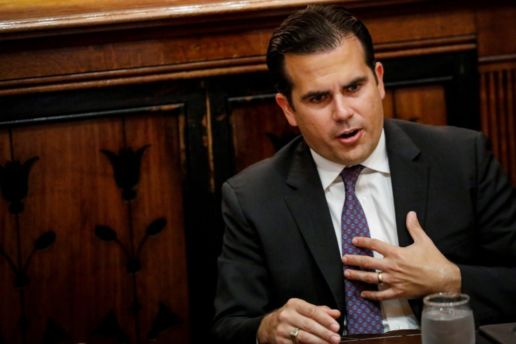 Puerto Rico Gov. Ricardo Rossello speaks during an interview in New York City in 2017. File photo by REUTERS/Brendan McDermid
