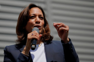 Democratic 2020 U.S. presidential candidate and U.S. Senator Kamala Harris (D-CA) speaks at a campaign house party in Gilford, New Hampshire, on July 14, 2019. Photo by Brian Snyder/Reuters