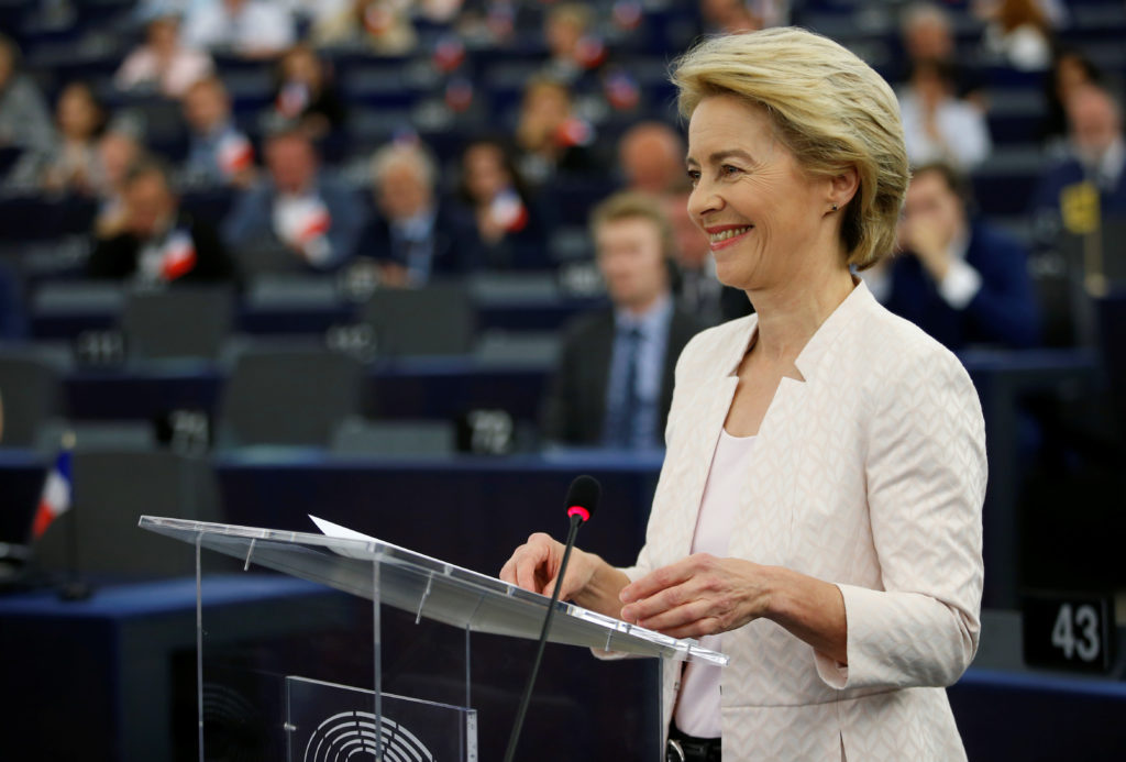 Designated European Commission President Ursula von der Leyen reacts after her speech during a debate on her election at the European Parliament in Strasbourg, France, July 16, 2019. Photo by: Vincent Kessler/Reuters