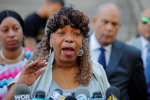 Gwen Carr, the mother of Eric Garner, speaks to the media after a meeting with Justice Department officials about their decision to not prosecute NYPD officer Daniel Pantaleo in New York. Photo by Lucas Jackson/Reuters