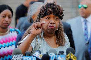 Gwen Carr, the mother of Eric Garner, speaks to the media after a meeting with Justice Department officials about their decision to not prosecute NYPD officer Daniel Pantaleo in New York, on July 16, 2019. Photo by Lucas Jackson/Reuters