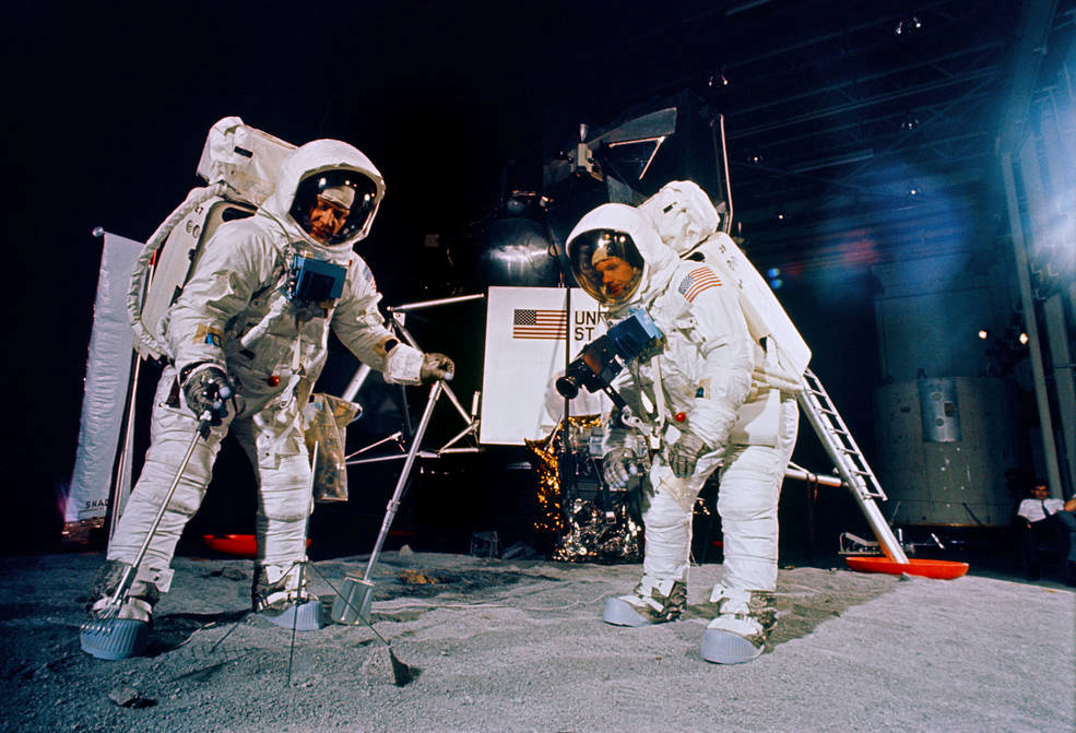 Apollo 11 astronauts Buzz Aldrin (L) and Neil Armstrong during a training session for their lunar EVA at NASA's Mission Control Center in Houston, Texas, June 5, 1969. Photo courtesy NASA/Handout via Reuters