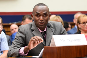 "Paul Njoroge, representing the families of Ethiopian Airlines Flight 302, testifies before a House Transportation and Infrastructure Aviation Subcommittee hearing on ""State of Aviation Safety"" in the aftermath of two deadly Boeing 737 MAX crashes since October, in Washington D.C., U.S., July 17, 2019. Photo by: Erin Scott/Reuters"