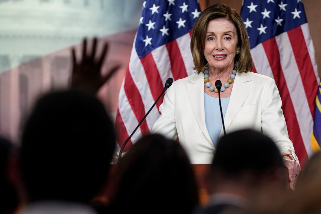 Speaker of the House Nancy Pelosi (D-CA) speaks during a media briefing on Capitol Hill in Washington, on July 17, 2019. Photo by Joshua Roberts/Reuters