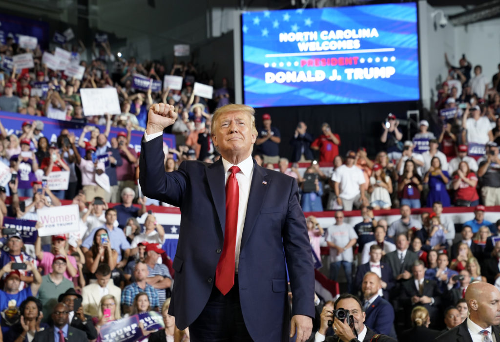 President Donald Trump reacts at a campaign rally in Greenville, North Carolina, U.S., July 17, 2019. Photo by Kevin Lamarque/Reuters