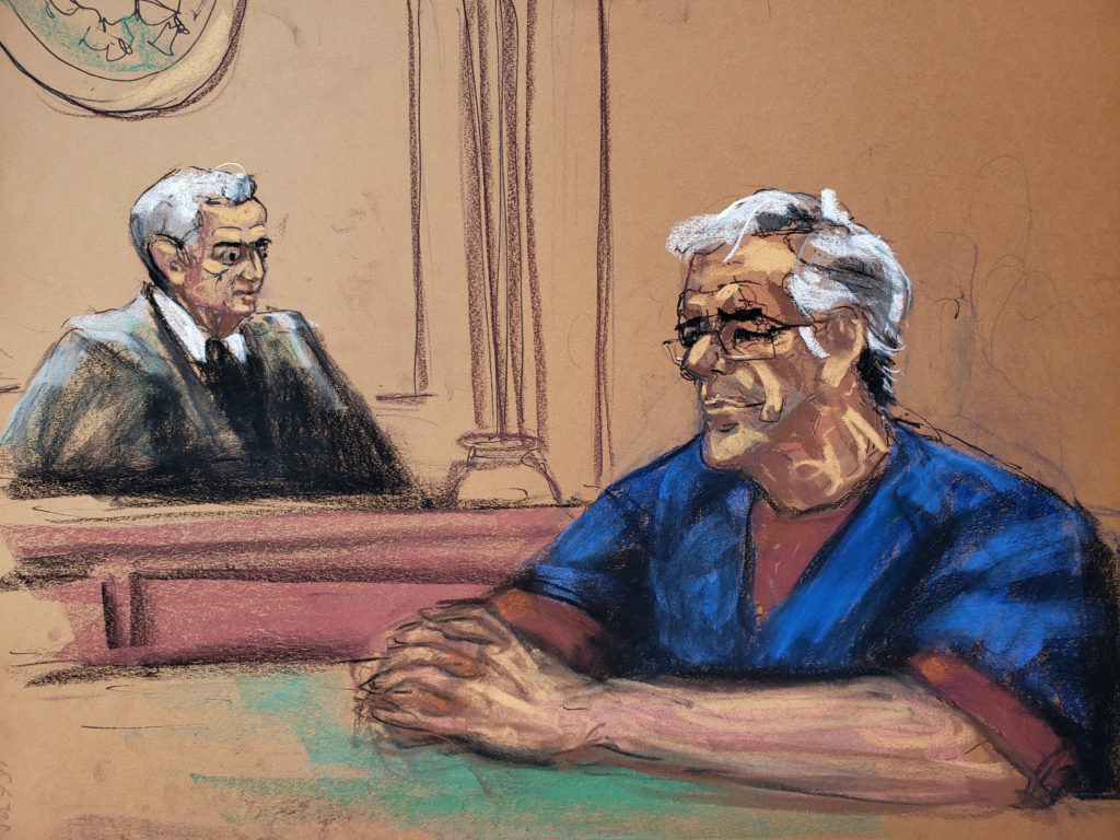 U.S. financier Jeffrey Epstein looks on near Judge Richard Berman during a bail hearing in his sex trafficking case, in this court sketch in New York, on July 18, 2019. Photo by Jane Rosenberg/Reuters