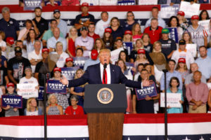 "U.S. President Donald Trump speaks about U.S. Representative Ilhan Omar, and the crowd responded with ""send her back"", at a ""Keep America Great"" campaign rally in Greenville, North Carolina, on July 17, 2019. Photo by Jonathan Drake/Reuters"