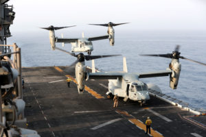 An MV-22 Osprey aircraft lands on the deck of the USS Boxer (LHD-4) in the Arabian Sea off Oman July 15, 2019. Photo by Ahmed Jadallah/Reuters